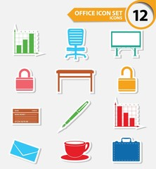 Office icons,Colorful version,vector