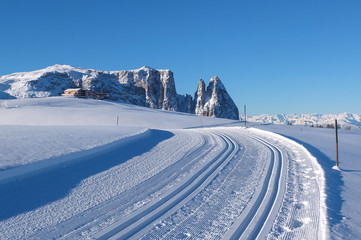 Empty road in the Dolomites