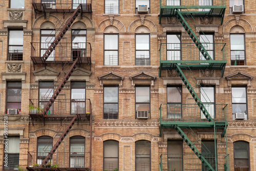 The typical fire stairs on old house in New York