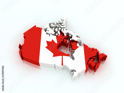 3d map of Canada in national flag colors