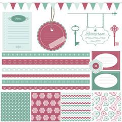 Cute scrapbook design elements set.