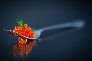 red caviar on a fork