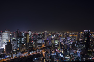 Night view at Osaka Japan, on the top of Umeda Sky Building