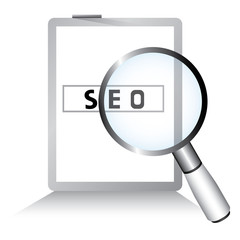 seo, magnifying glass and tablet