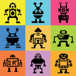 color pixel robot icons, background