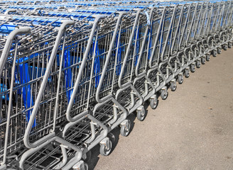 Long row of shopping carts pushed together