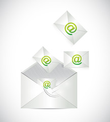 envelope full of emails illustration design