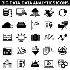 big data icon set, data analytic icons