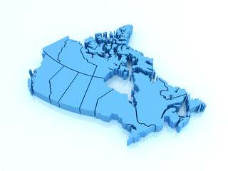 Three-dimensional map of Canada on white background. 3d map