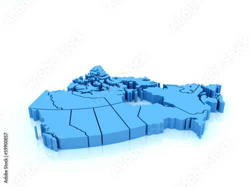 Three-dimensional map of Canada on white background.3d