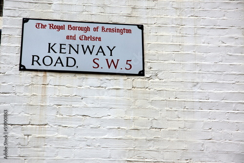 London Street Sign, Kenway Road, Borough of Kensington and Chels