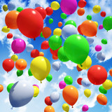 Fototapety Multicolored Balloon's released into the sky