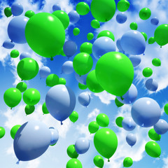 Blue and green Balloon's released into the sky