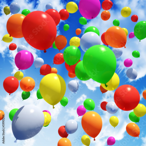 Naklejka na meble Multicolored Balloon's released into the sky
