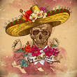 Постер, плакат: Skull in sombrero with flowers Day of The Dead