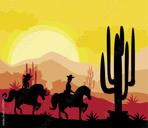 silhouette of a couple rides a horses during sunset