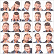 Collage portrait unshaved handsome man with difference emotions