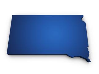 Map Of South Dakota 3d Shape