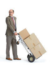 Businessman and handcart with a load