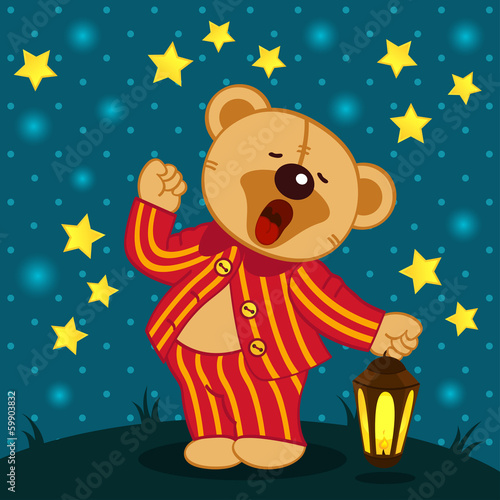 teddy bear in pajamas yawns - vector illustration