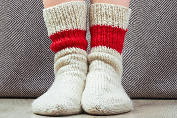 clouseup pair wool knitted socks