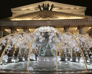 electric fountain at night, Moscow, Russia