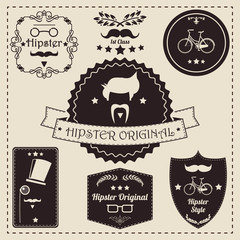 Collection of vintage hipster label icons, vector illustration
