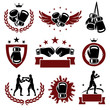 Boxing labels and icons set. Vector - 59906047