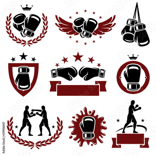 Fototapeta Boxing labels and icons set. Vector