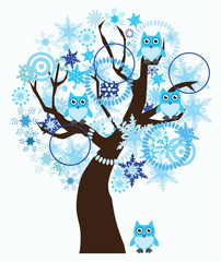 vector winter tree with snowflakes, owls