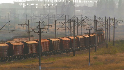Cargo train in motion