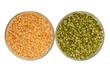 raw green pea and yellow pea