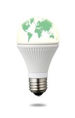 World Map on LED Light Bulb