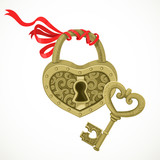 Heart shaped lock and key to it isolated on white background