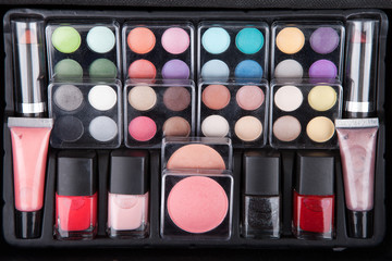 Make up case containing colorful eyeshadows