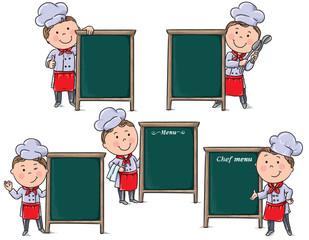 Chefs children with menu board