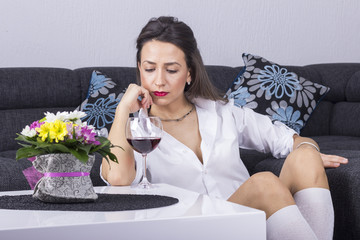 Depressed Woman with Alcohol