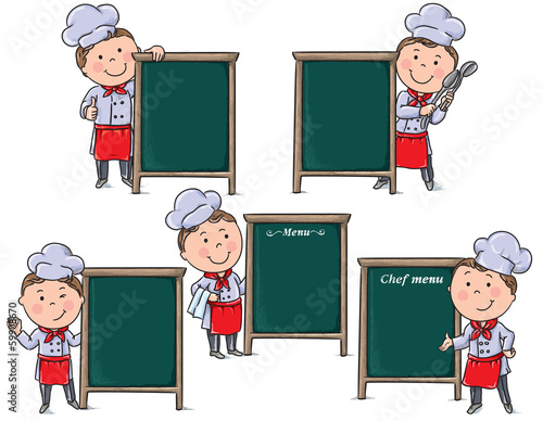 Chefs children with menu board