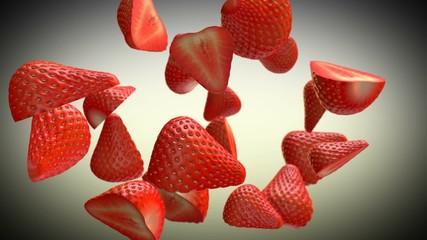 Sliced Strawberries rotating