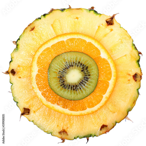 Sliced Fruits isolated. Kiwi, Pineapple, Orange. Macro. Top View