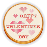 Happy Valentines Day Cross Stitch Embroidery, retro wood hoop