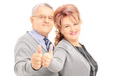 Smiling mature couple giving thumbs up
