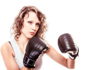Sport boxer woman in black gloves. Girl training kick boxing