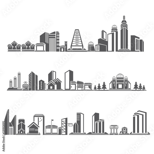 cities silhouette icon set, city skyline