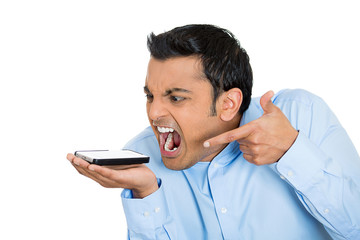 Man angry, frustrated  man yelling on a cell phone