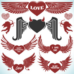Valentines vector set with wings.