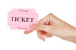 Woman's hand holding a colorful ticket