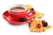 Cup of tea with cookies and berries isolated on white
