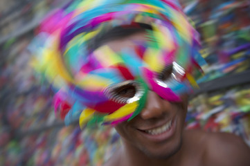 Salvador Carnival Samba Dancing Brazilian Man Smiling in Mask