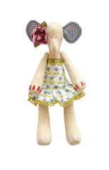 Handmade soft toy elephant isolated in dress